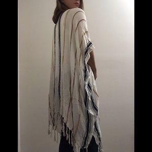 Francesca's white striped tassel fringe kimono